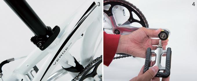 3 프레임은 더블 트러스 구조로 제작해 폴딩 자전거의 단점인 강성을 보완했다 4 노란 버튼을 눌러주면 페달을 쉽게 접고 펼 수 있다