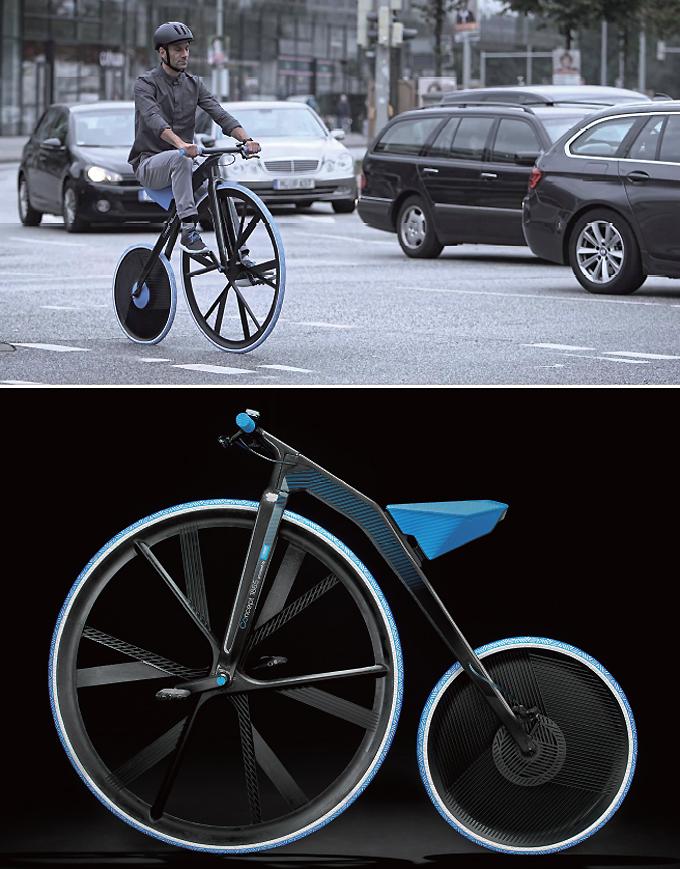 <b>BASF의 고전적인 전기자전거 '콘셉트 1865'(독일)</b><br><br>비에이에스에프의 화학제품을 홍보하기 위한 전기자전거다. 큰 앞바퀴를 발로 굴러 주행하는 이러한 자전거를 벨로시페드(velocipede)라고 한다. 최초의 전동 벨로시페드가 될 것이다 출처. www.basf.com
