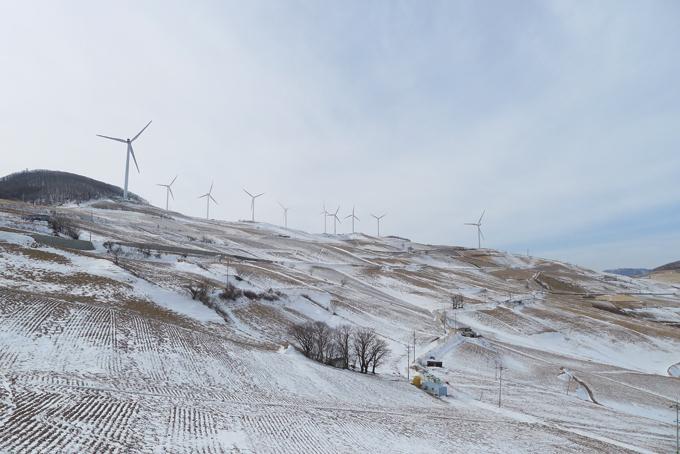 매봉산 고랭지채소단지의 황량한 겨울 풍경