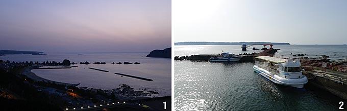 1 구시모토 로얄호텔에서 바라본 하시쿠이이와(橋杭岩) 암석군. 마치 징검다리처럼 일렬로 도열해 있다. 2 해변에서 140m 들어간 바다 중간에 조성된 쿠시모토 해중전망대