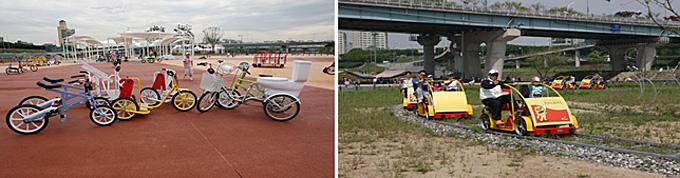 광나루 자전거 공원 이색자전거(왼쪽), 레일바이크(오른쪽)