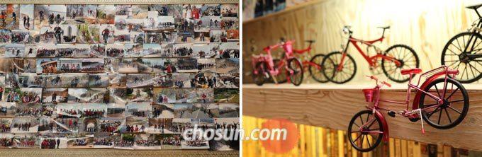 라이딩 사진과 자전거 소품으로 꾸며진 '노란 자전거' 내부