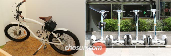매장 안 전기자전거와 카페 앞에 주차된 세그웨이