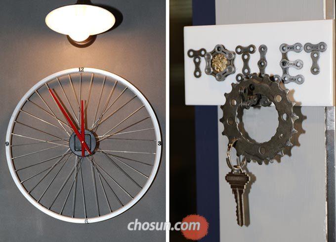 '삐벨로'에는 자전거 휠로 만든 시계부터 구동계를 연상시키는 열쇠고리까지 독특한 인테리어로 가득하다.