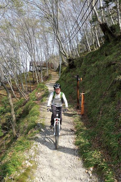 내수전일출전망대~선창 간 원시림 둘레길. 일부 구간은 자전거를 끌어야 한다.