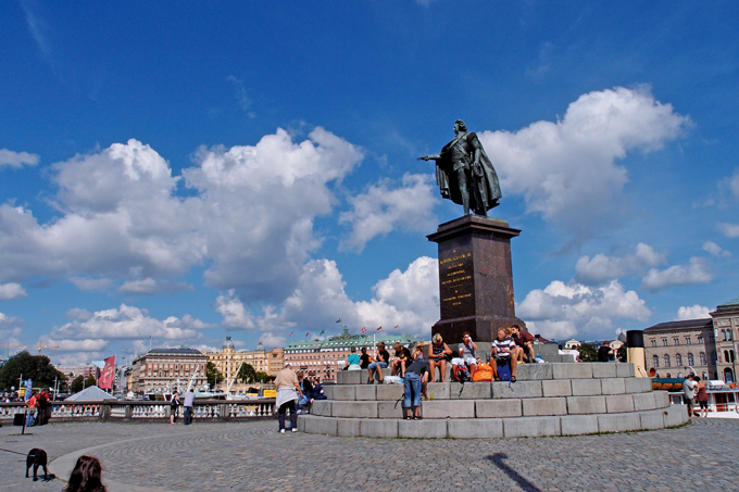 계몽군주 구스타프3세의 동상. 재임중 가면무도회에서 암살되는 비운을 맞았다