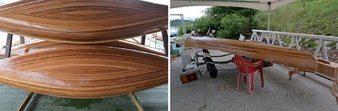 (왼쪽부터) 5m에 달하는 카누 / 제작완료된 카누