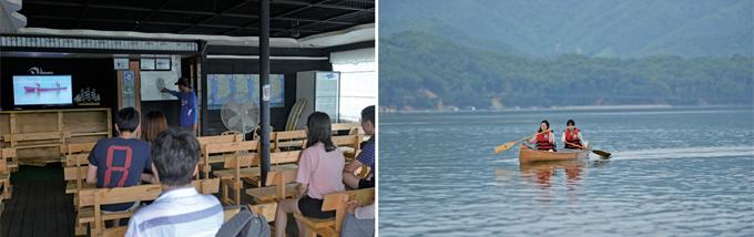 (왼쪽부터) 카누 교육 / 카누를 즐기는 관광객들