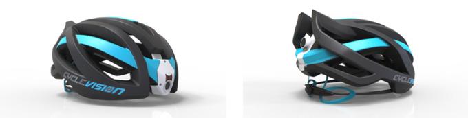 Cyclevision(사이클비전)의 자전거 헬멧은 헬멧 앞, 뒤로 2대의 카메라가 장착된 신개념 자전거 헬멧이다.
