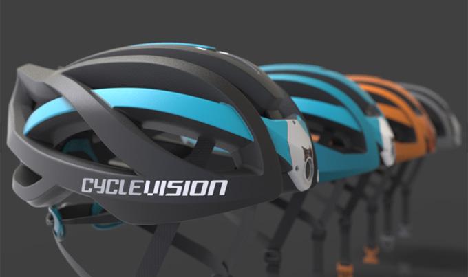 앞, 뒤로 총 2대의 카메라가 내장된 Cyclevision의 헬멧은 약 280g의 가벼운 중량으로 방수기능까지 완비했다.
