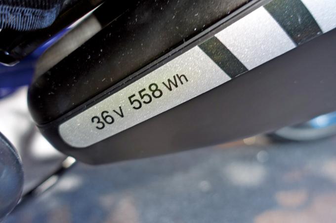 36V 558Wh라고 표시되어 있다. 50셀 기준으로 3100~3200mA의 용량이다