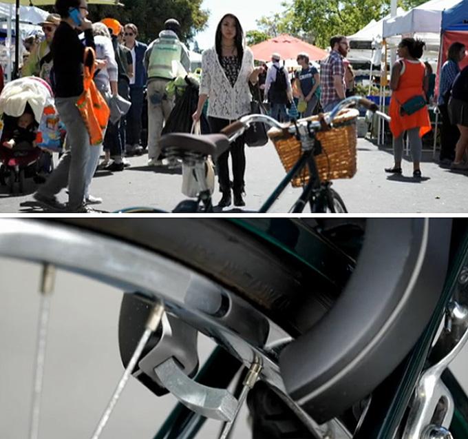 블루투스로 스마트 기기와 연결하면 자물쇠가 잠긴 상태에서 운전자가 자전거에 가까이 다가갈 때 자동으로 자물쇠가 열린다.