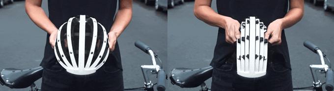 프레임을 나일론 스트랩으로 연결한 접이식 헬멧으로 마치 부채를 접듯 부피를 작게 만들 수 있다.