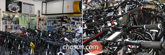 벨로스타 매장에 전시된 다양한 전기자전거