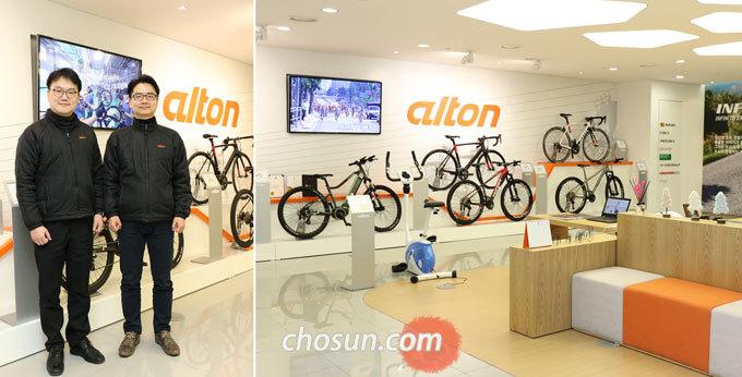 (왼쪽부터)오기택 제품개발팀장, 김민철 마케팅팀장, 오른쪽 사진은 알톤스포츠 판교 본사 쇼룸