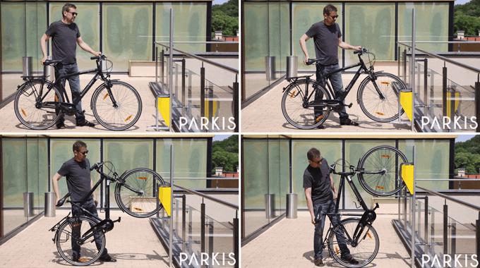 자전거를 세울 벽면에 지지대를 설치한 다음, 자전거를 벽으로 끌어 올릴 트레일러에 앞바퀴를 끼워, 그대로 벽면을 타고 자전거를 수직으로 세우면 끝이다.