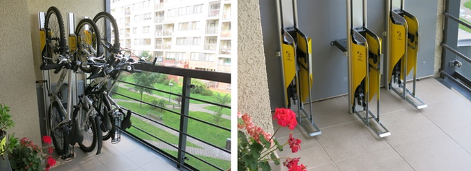 벽면 지지대에 높이 차이를 두면, 여러 대의 자전거를 함께 보관할 수 있어 나머지 공간 활용도도 높다.