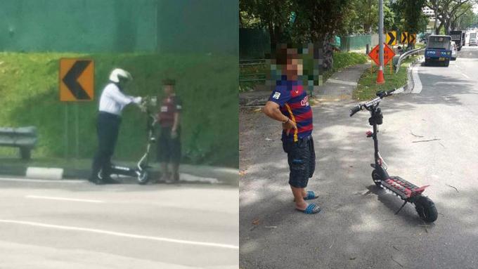 속도 제한을 지키지 않아 경찰에게 잡힌 전동킥보드 이용자 (사진 : 싱가포르 교통청 페이스북)