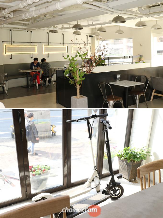 1층의 카페 '카페그라운드'는 모빌리티 체험과 커뮤니티의 공간으로, 일반 카페처럼 쉬어가며 다양한 전동제품을 체험할 수 있는 신개념 공간이다.