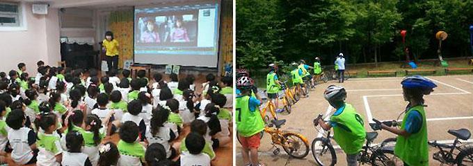 (왼쪽부터) 서울시에서 운영하는 '찾아가는 자전거 교실'과 '어린이 자전거 운전 인증제' 모습./