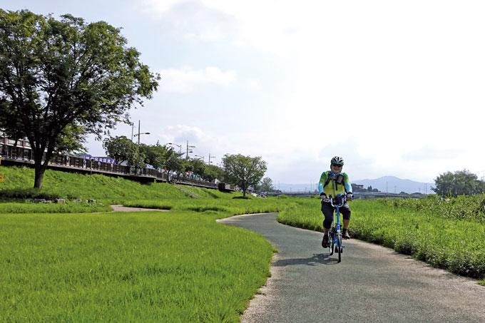자연미를 더한 곡선형 자전거길이 훨씬 더 편안하다.(안성시내)