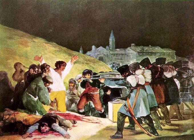 고야의 '1808년 5월 3일.' 스페인을 침략한 프랑스군의 만행을 고발하고 있다. 인간의 잔인함과 동시에 용기를 보여주는 그의 대표작 중 하나