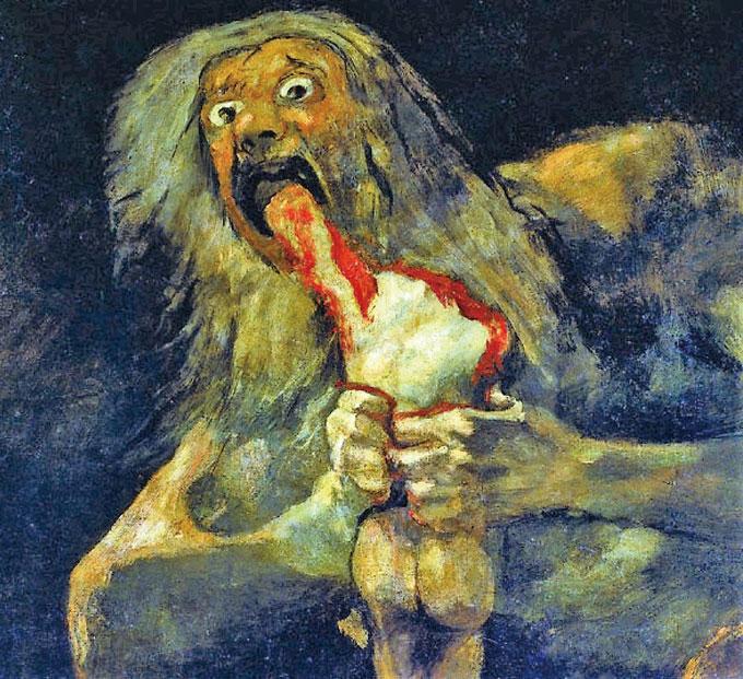 고야의 '자식을 잡아먹는 사투르누스.' 사투르누스는 로마신화에 나오는 농사의 신이다. 이렇게 잔인하고 역겨운 그림은 처음이다. 가로 83cm 세로 146cm