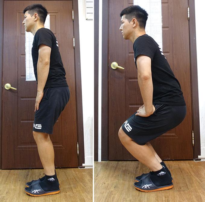 빠르게 반복할 필요는 없다. 무릎에 어느 정도 힘이 가해진 상태에서 천천히 구부렸다가 펴는 정도로 무릎 주변 근육과 무릎부터 이어지는 근육에 적당한 긴장감을 유발하는 것이 목적이다. 이 동작을 통해서 운동 효과를 보려고 하는 것은 아니니 5~10회 정도만 하자.