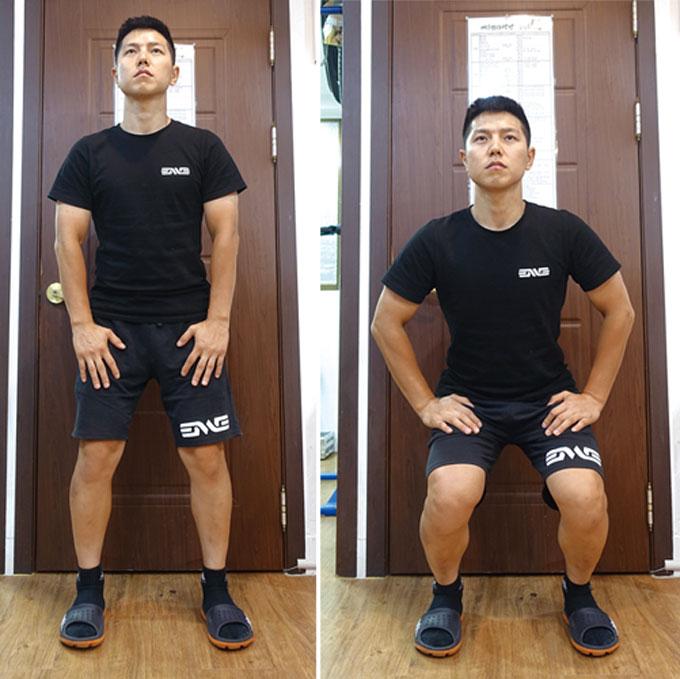 허벅지에 긴장감이 살짝 생길 정도로만 움직여 주면 된다. 이 동작을 통해서 운동 효과를 보려고 하는 것이 아님을 기억하자.