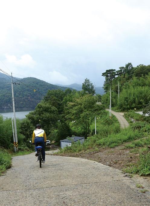 장성호반에 깊이 숨어 있는 수성마을에서 임도로 이어지는 산길이 시작된다.(장성읍)