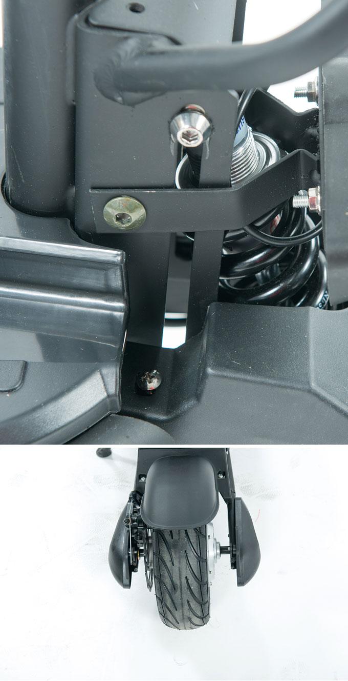 리어에 적용된 유압식 서스펜션과 10인치 튜브리스 타이어로 승차감을 개선했다.
