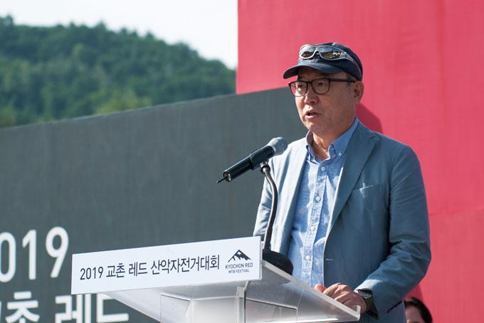 격려사를 하는 한국산악자전거협회 김태진 회장