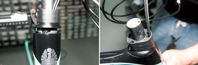 정확히 조립되었다면 정면에서 봤을 때 케이블이 헤드튜브 중앙을 지나게 된다.