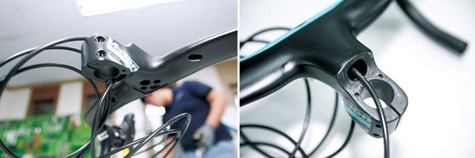비전 메트론 5D ACR 핸들바는 일체형 에어로 핸들바로 케이블이 모두 내부로 지나간다.