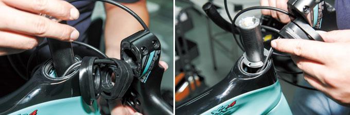 케이블을 미리 헤드셋 베어링 과 커버를 통과시킨 후 조립해야 한다. 케이블을 확인 후 컴프레션 링을 설치한다.