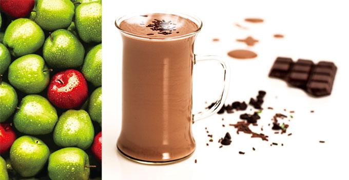 ▲ 신선한 과일과 채소가 회복에 좋고, 초코우유 는 최고의 회복음료다.